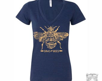 Women's SAVE the BEES - Lightweight Deep V Neck Tee [+Colors] s m l xl xxl custom
