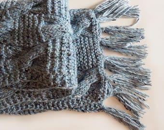 Knitted alpaca scarf, knitted aran scarf, blue scarf, christmas gift, merino scarf, women's scarf, men scarf, blue-grey scarf, tweed scarf