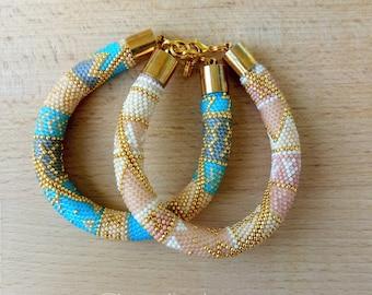 Set of two Elegant Bracelets Set of jewelry Blue bracelet Boho style Stylish bracelet Pink Bracelet Rose Gold Bracelet Fashionable