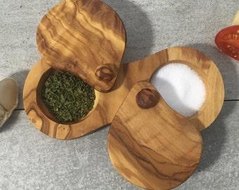 Salt & Pepper Server Set from Olive Wood ,Spice Pot Caddy , Salt Cellar. Spice box, Handmade, Massive Olive Wood, Gift idea.