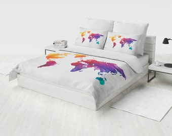 World map bedding etsy world map bedding watercolor map duvet cover set map bedding boho grunge bedroom publicscrutiny Image collections