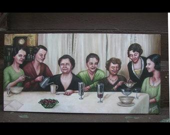 Ladies At Supper, Original Painting, 1930's, Women, Friendship, Dinner Party, Portrait of Women, Group Portrait, Nostalgia, Lace Curtains