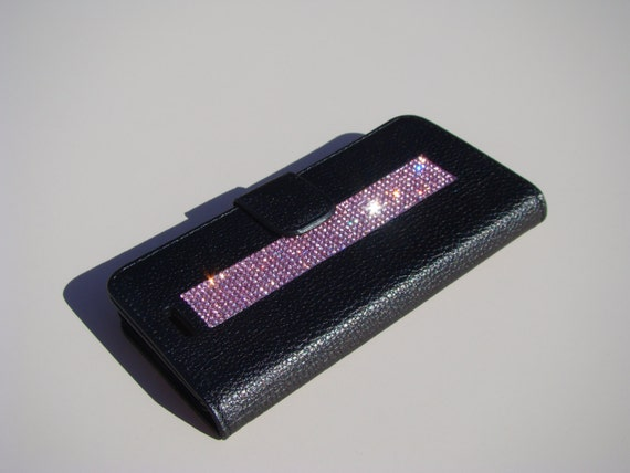 iPhone 8 Wallet / iPhone 7 Wallet Pink Diamond Rhinestone Crystals on Black Wallet Case. Velvet/Silk Pouch bag Included, .