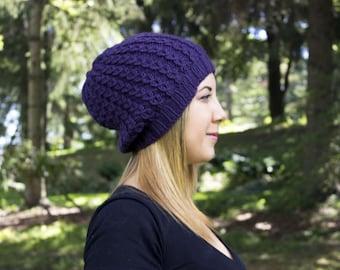 Purple Slouchy Knit Hat - Dark Purple Vegan Hat - Boho Hat - Hipster Hat - Hippie Hat - Womens Tam - Mens Beanie - Handknit - Gift for Her