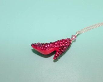 Cinderella Necklace - Crystal Doll Shoe Necklace Hot Pink Princess Necklace