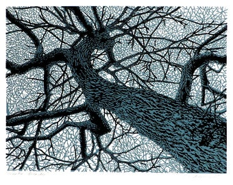 Winter Branches linocut