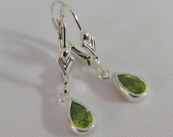 Sterling Silver Peridot Earrings, Leverback Earrings, August Birthstone Gift, Natural Peridot Jewelry, Drop Earrings, Green Gemstone