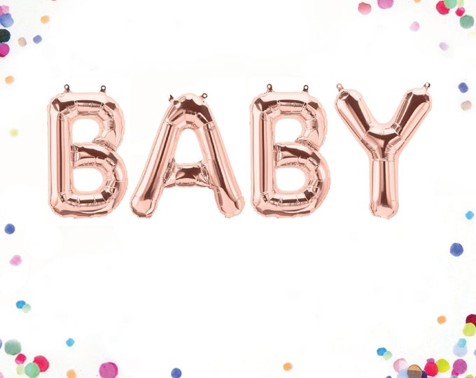 "Baby Balloons Rose Gold, Baby Balloon Letters, Letter Balloons 40"", Letter Balloons 14"", Baby Balloon Banner, Baby Letter Balloons"