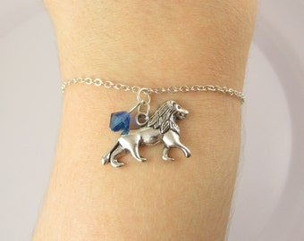 Lion Bracelet- choose a birthstone, Lion Jewelry, Lion Gifts, Lion Charm Bracelet, Lion Birthstone, Lion Charm, Animal Bracelet, Lion
