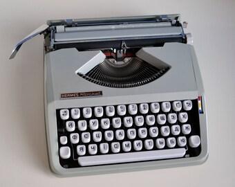 Small Manual Typewriter Hermes Rocket Vintage Portable Typewriter made in 70s Compact Lightweight Typewriter  Vintage Gift, European Vintage