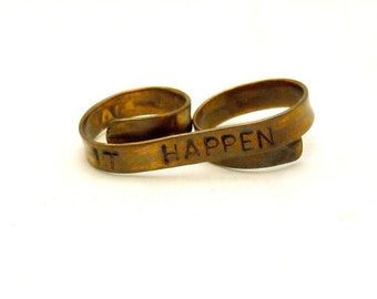 Make It Happen Double Finger Ring, Custom Stamped Inspirational Jewelry, Personalized Quote