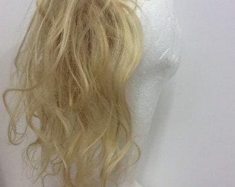blonde human hairpiece extension 613 scrunchie wavy 12 inches