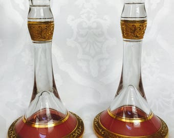 Antique Pair of Pink and Gold Mosel Glass Candlestick Holders Frieze Handsome Size Special