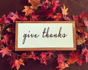 give thanks, fall sign, thanksgiving sign, give thanks sign, framed wood sign, fall decor, in all things give thanks, thanksgiving decor,