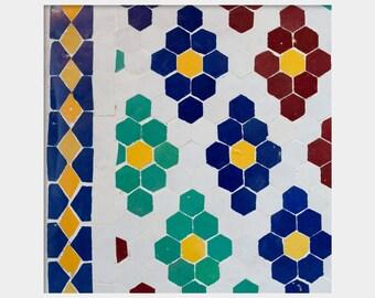 Mosaic Tile Art, Morocco Abstract Art, Marrakech Print, Moroccan Tile Art, Morocco Tile Photo, Bold Modern Art, Square Wall Art, Blue Tile