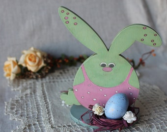 Easter bunny Easter decor Easter gift Wooden decoration Bunny with egg Painted rabbit Easter egg in the nest Easter table decor