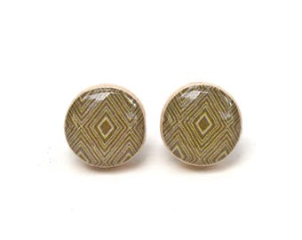 Geometric Stud Earrings Tan Earrings, Round post earrings, Hypoallergenic Wood Earrings starlight woods
