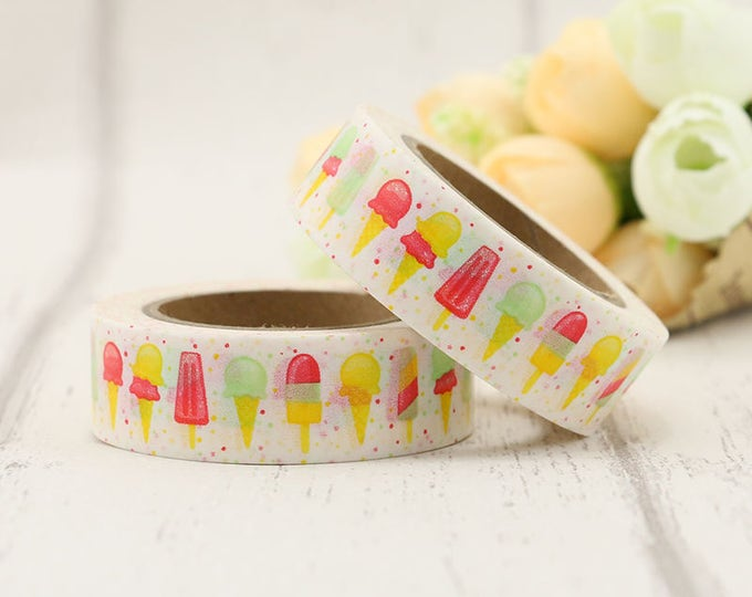 Washi Tape - Ice Cream Washi Tape - Popsicle washi Tape - Paper Tape - Planner Washi Tape - Washi - Decorative Tape - Deco Paper Tape