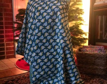 mamas nursing shawl bird print - cotton