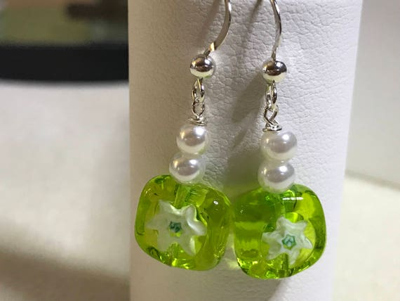 Millefiore Glass Square  Piereced Dangle Earrings Green Flower Pierced  GiftsTeen Child Graduation
