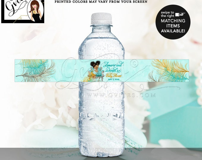 """Turquoise Gold & Silver Baby Shower Water Bottle Labels African American baby girl, ribbons  9.75x1.25""""/5 Per Sheet {Designed Avery® 22845}"""