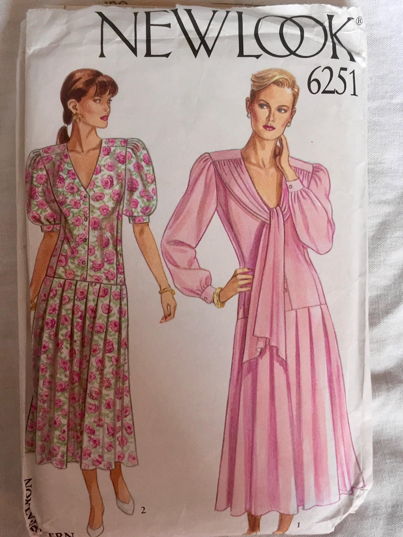 Schnittmuster neuer Look 6251-90er Jahre-Kleid Größen 8-18
