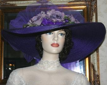 Purple Kentucky Derby Hat, Ascot Hat. Edwardian Hat, Southern Belle Hat, Titanic Tea Hat - Sweetheart of Ritzville