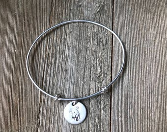 Greyhound Bracelet - Sterling Silver - Bangle - Charm - Dangle - Expandable - Made to Order