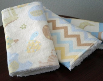 Neutral Burp Cloth Set - Zoo Animals - Delicate Blue, Yellow, Green - Chevron Burp Cloth - Baby Gift Under 20 - Zoo Nursery