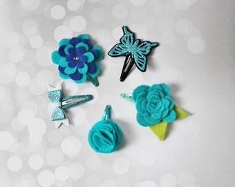 Set of 5 Hair Clips -  Baby Hair Clips -  Glitter Hair Clip - Blue Hair Clips - Butterfly Hair Clip - Flower Hair Clip - Ready to ship