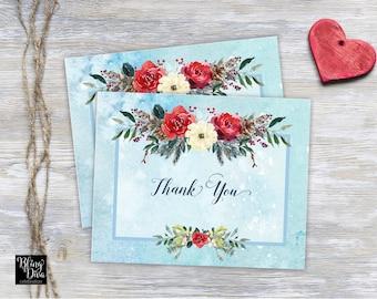 Snow Thank You Card Printable