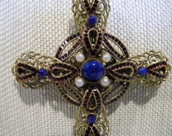Vintage West Germany Gilded Brass Filigree Cross