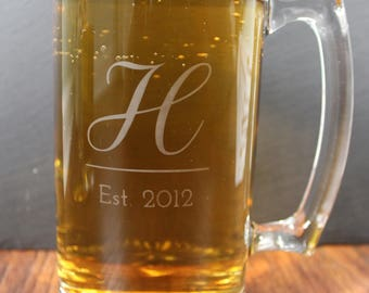 Personalized Etched Glass Beer Mug - 25.73 oz