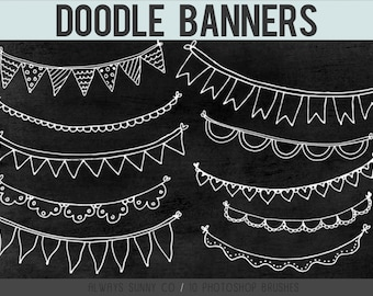 Doodle Banners, Photoshop Brushes, Clip Art, Hand Drawn Banners - 10 Brushes