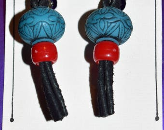 Hand Crafted Clip On Turquoise & Red Bead Black Leather Dangle Earrings