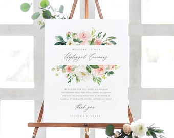 Editable Template - Instant Download Spring Romance Unplugged Ceremony Sign in 2 Sizes