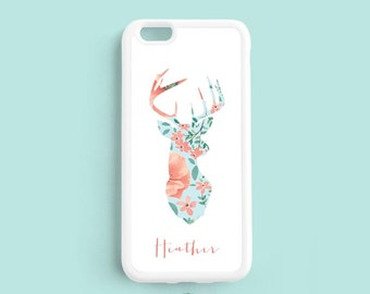 Deer with Shabby Chic Flower Pattern, Personalized First Name, iPhone 7 6 plus, 5s 5c 5 4 Case, Samsung Galaxy s6 s5 s4, Note 3 4 Case NP56a
