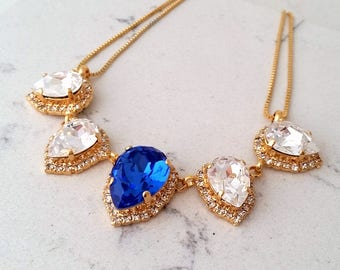 Sapphire necklace,Crystal necklace,Bridal necklace,Swarovski  necklace,Statement necklace,Bib necklace,Bridesmaid gift, Wedding jewelry