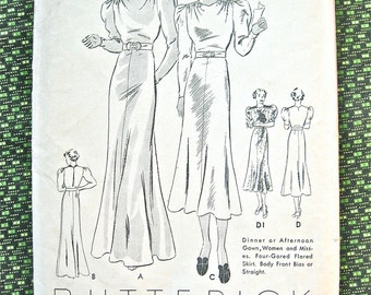 Vintage 1930s gown sewing dress pattern by Butterick 7049  Bust 40 inches