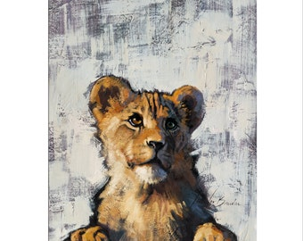 Animal Art - Matted Print of Original Oil Painting - Animal Lovers, Cub, Lion Cub, Animals, Zoo, Fun Art, For Wall, Boy, Girl