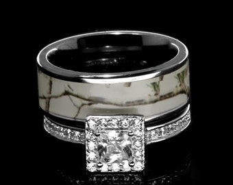 His and Hers Camo Wedding Rings Set Camouflage Engagement