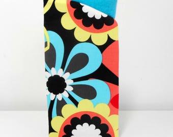 Retro Floral Eyeglass Case, Black Eye Glass Case, Fabric Eyeglass holder, Readers Case, Sunglass Case