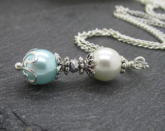 Ivory and Aqua Pearl Necklace, Blue Bridesmaid Jewellery, Bridal Party Gifts, Aqua Wedding, Bridesmaid Pearls,