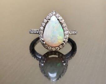14K White Gold Opal Diamond Engagement Ring - Art Deco Diamond Opal Wedding Ring - Pear Shape Opal Diamond Ring - Halo Diamond Opal Ring
