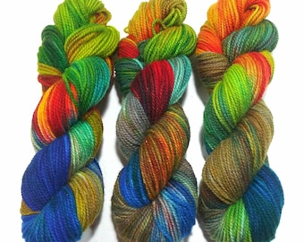 Hand Dyed Yarn: A Butterflies Dream - Hinterland Base {100% Wool, non superwash, 210yd, worsted} Suitable for knitting and crochet