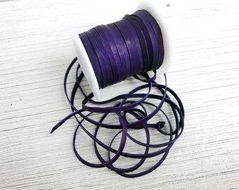 "Purple Leather Lace 1/8"" Deerskin Royal Purple Deerskin Leather Cord BY THE YARD, 3 Feet x 3mm for Ties, Beads, Leather Craft Supplies"