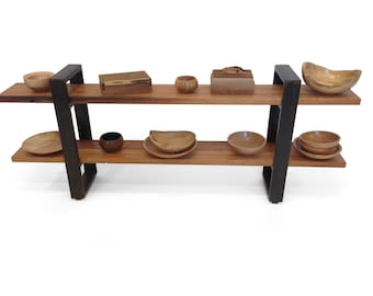 Reclaimed pine shelf with wrapped metal legs