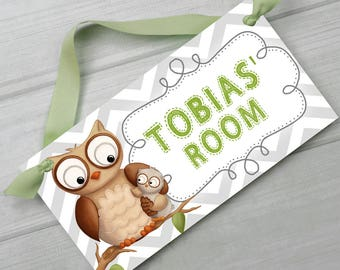 Grey Chevron Brown Owl Gender Neutral Girls Boys Bedroom and Baby Nursery Kids Bedroom DOOR SIGN Wall Art DS0232