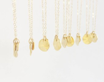Beloved (necklace) - Two tiny hammered 14k gold plated disc charms on a dainty 14k Gold Filled chain
