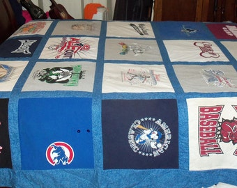 Custom Queen Size Tshirt Memory Quilt made with your own Tee Shirts 25 to 30